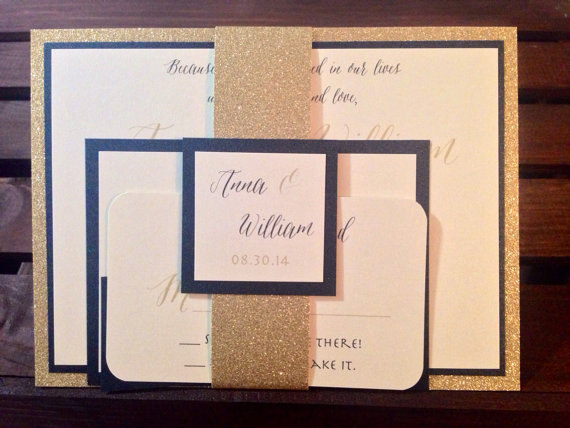 sample glitter and metallic wedding invitation suite black and gold with belly band - Wedding Invitation Belly Band
