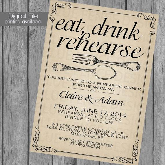 Rehearsal Dinner Invitation, Wedding Dinner, Dinner Party, Fork