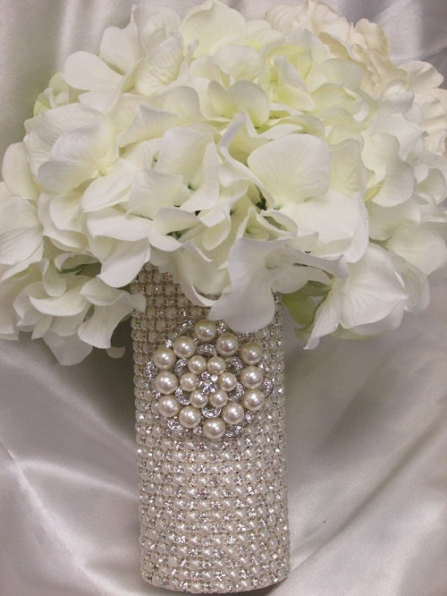 Large Rhinestone & Pearl Bridal Bouquet Holder, Rhinestone Bouquet ...