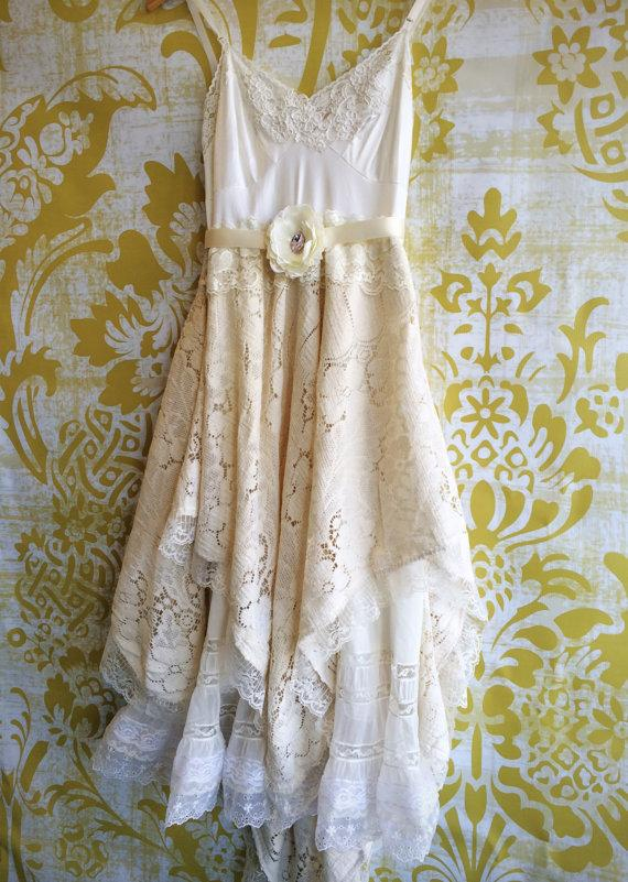 Boda - white & ivory  quaker lace crochet off beat bride boho short wedding dress by mermaid miss k