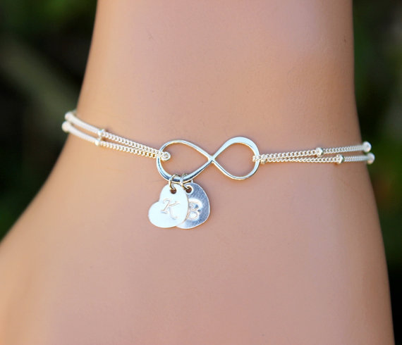 Personalized Infinity Bracelet Jewelry Charm Chain Friendship Heart Initial Bridal Valentine S Day Holidays Gifts