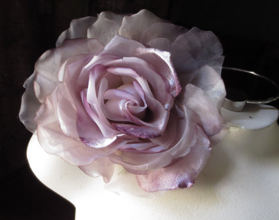 Hochzeit - SALE Silk and Organza Rose in Lavender Purple for Bridal,  Hats, Bouquets, Costumes, Couture MF 137