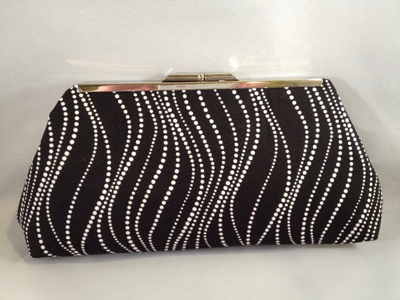 Hochzeit - Black with White Pearl Print Cotton Print Clutch Purse with Nickel/Silver Finish Frame, Black white, Bridesmaid, Wedding, Special Occasion