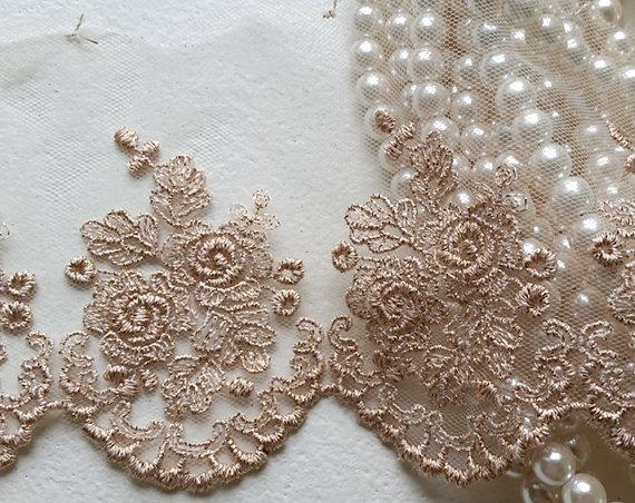 4 Rose Gold Vintage Lace Trim Embroidered Gauze Lovely Floral Embroidery Tulle Fabric For Wedding Bridal Dress Lingerie Clothing