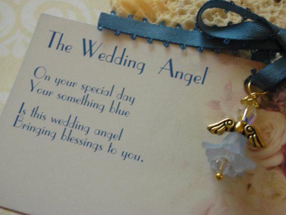 Wedding - The Swarovski Wedding Angel-Wedding Angel Bouquet Charm-Gift from Mom to Bride-Blue Garter Charm-Something Blue