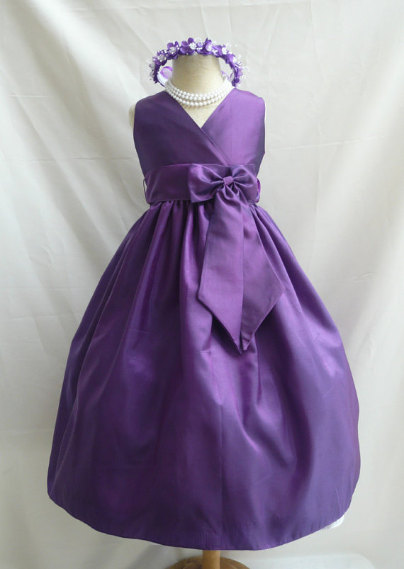 Mariage - Flower Girl Dress - Purple V-Neck Dress with Purple - Wedding, Easter, Junior Bridesmaid, Formal Girl Dress, Recital (FGVN)