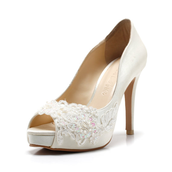 Wedding - Miss Ace 2,Ivory White LaceAdorned Wedding Shoes,Ivory White Bridal Heels,Ivory White Lace Wedding Shoes, Ivory White Pearl Bridal Heels