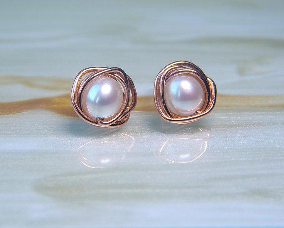 Sale Pearl Rose Gold Stud Earrings White Freshwater Pearl Stud