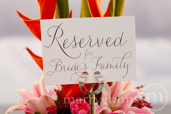 Reserved For Bride Or Groom\'s Family Sign Table Card - Wedding ...