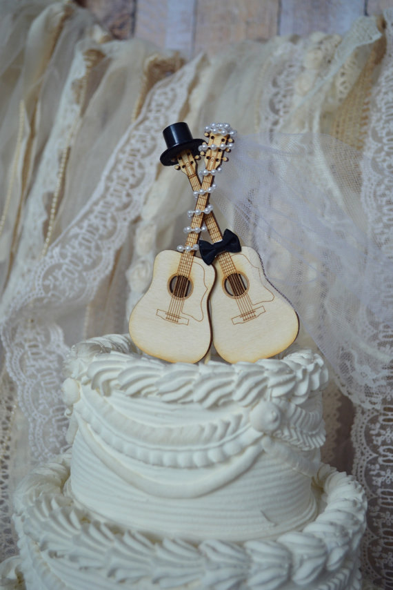 Hochzeit - Guitar wedding cake topper-musician-wedding cake topper-guitar-music-instrument-musical-guitar wedding-rock star