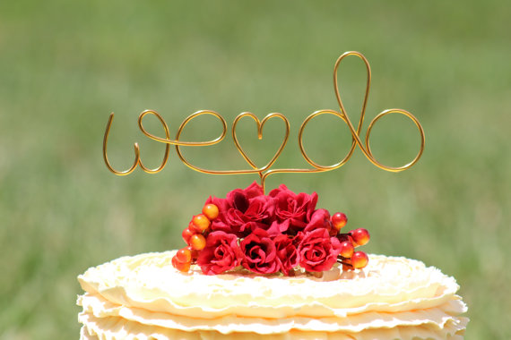 """Wedding - Gold Wire """"WE DO"""" Wedding Cake Toppers - Decoration - Beach wedding - Bridal Shower - Bride and Groom - Rustic Country Chic Wedding"""