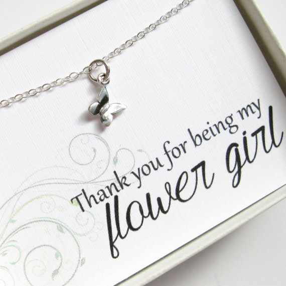 Sterling Silver Childrens Butterfly Charm Necklace Flower Girl