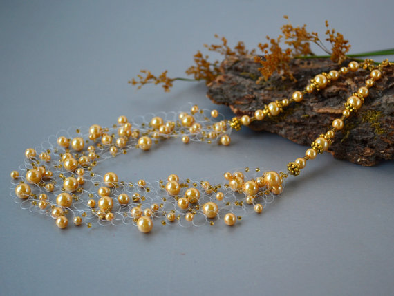 Wedding - Gold Yellow glass pearl wedding airy crocheted necklace. Wedding. Multistrand Necklace. Beadwork. Beaded Jewelry