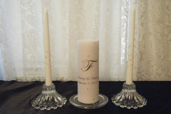 Свадьба - Wedding Unity Candle Set with Monogram and Crystals and Pearls