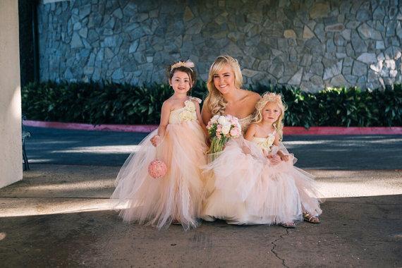 Wedding - Victorian Beauty with Pearls TuTu Dress. Flower girl dress. Wedding