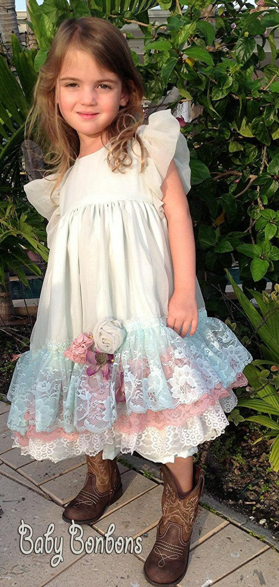 Boda - Vintage Lace Flower Girl dress , custom colors By Rosanna Hope for Babybonbons Special Occasion dress, Easter Sunday dress