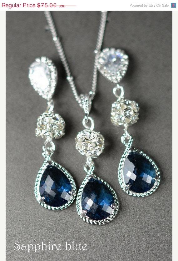 20 off navy blue sapphire blue wedding jewelry bridesmaid for Bridesmaid jewelry sets under 20