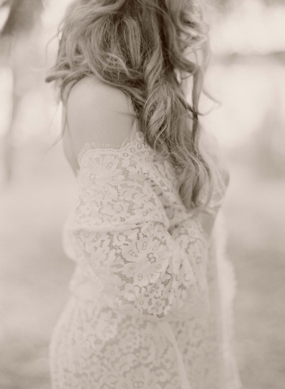 Mariage - Elizabeth Bridal Lace Robe in Ivory Lined - Style 122