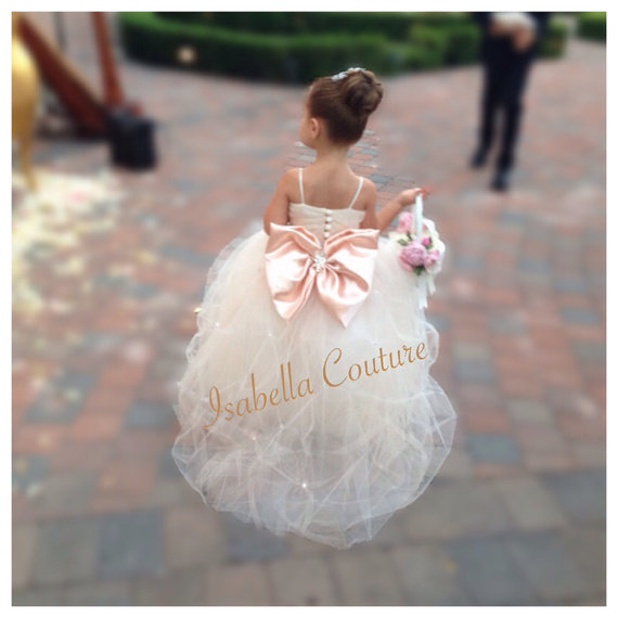 Boda - Flower Girl Dress - Lace Dress - Girls Lace Dress - Big Bow Dress - CAPRI DRESS - (FULL) Wedding Dress by Isabella Couture