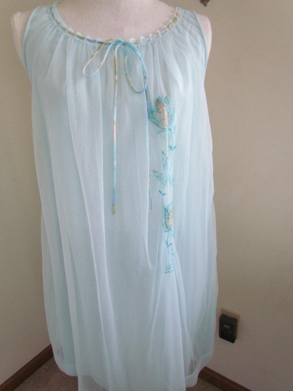 aa0321a51b Babydoll Nightgown Blue Nightgowns Miss Elaine Women s Large 1960s Nightgown  Lingerie Sleeveless Embroidered Nylon