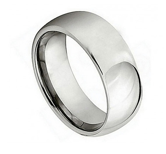 زفاف - 7MM Men's Titanium Polished Shiny Domed Edge Ring Wedding Engagement Anniversary Plain Band Unisex Men Women