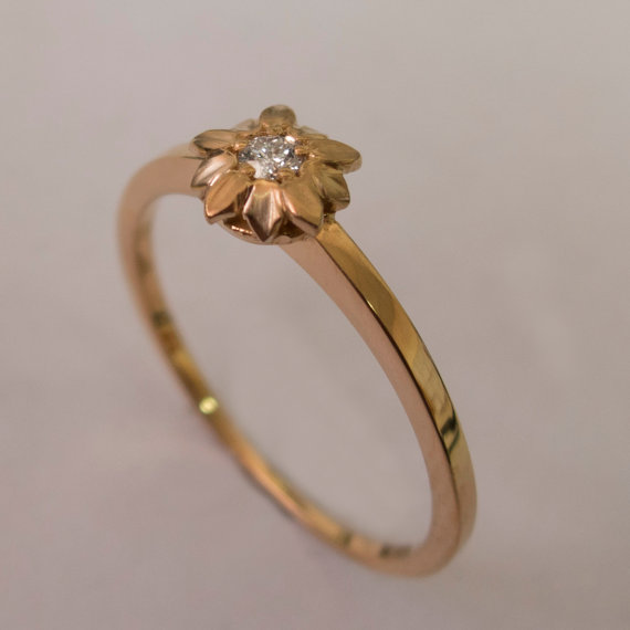Flower Engagement Ring No 1 14K Rose Gold And Diamond Engagement