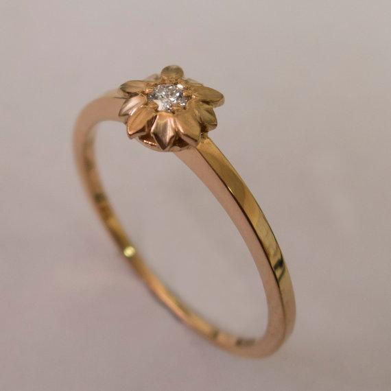 Mariage - Flower Engagement Ring No.1 - 14K Rose Gold and Diamond engagement ring, engagement , leaf ring, flower ring, vintage, delicate ring
