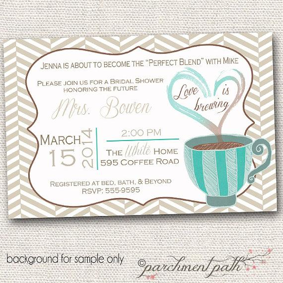 Свадьба - Love is Brewing Bridal Shower or Bachelorette Party Invitation - Printable - Wedding - Coffee Bridal Shower