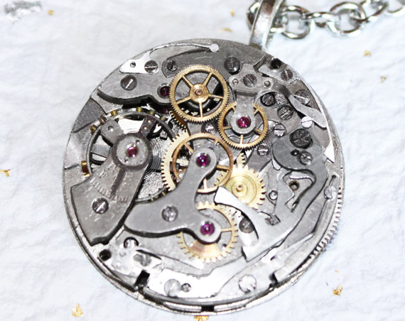 """Wedding - Steampunk Necklace Jewelry - Ultra HIGH END Vintage """"Le Landeron"""" Swiss CHRONOGRAPH Watch Movement Men Steampunk Necklace - Wedding Gift"""