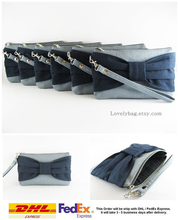Mariage - Set of 6 Wedding Clutches, Bridesmaids Clutches / Gray with Navy Blue Bow Clutches - MADE TO ORDER
