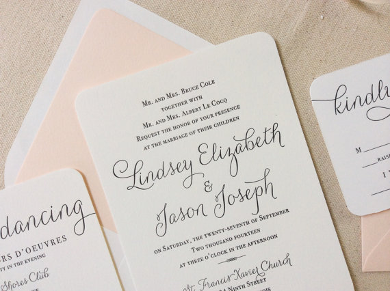 Wedding - The Verbena  Suite - Modern Letterpress Wedding Invitation Suite, Black, Blush, Pink, Liner, Calligraphy, Script, Swirls, Simple, Classic
