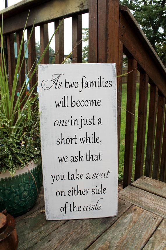 11 X 23 Wooden Wedding Sign As Two Families Will Become One Ceremony Pick A Seat Not Side