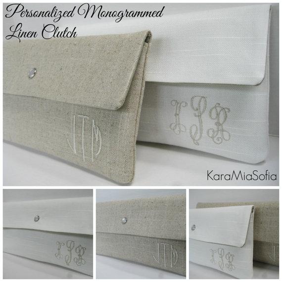 Mariage - Personalized Monogrammed Linen Clutch / Bridesmaid Clutch / Wedding Clutch