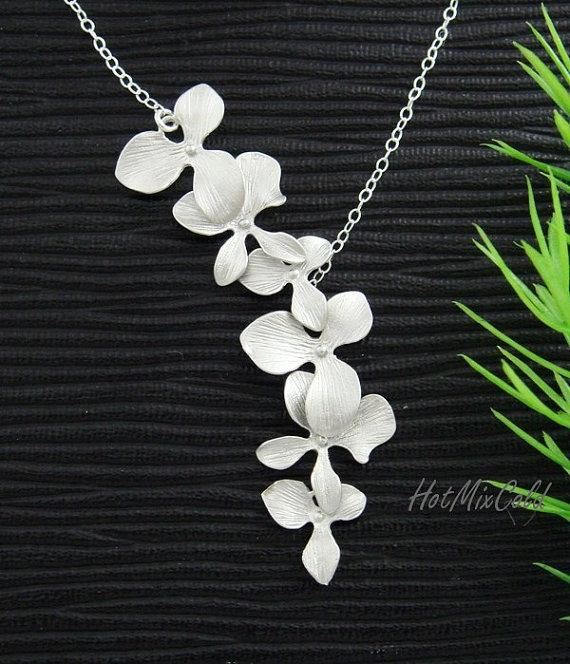 Wedding - Trio Orchid flower Necklace, Dainty STERLING Silver Necklace, Bridal wedding jewelry, Birthday, Bridesmaid gifts, Orchid Jewelry