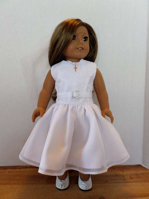Свадьба - Communion, Confirmation, wedding, special occasion dress and veil fits American girl 18 inch doll clothes