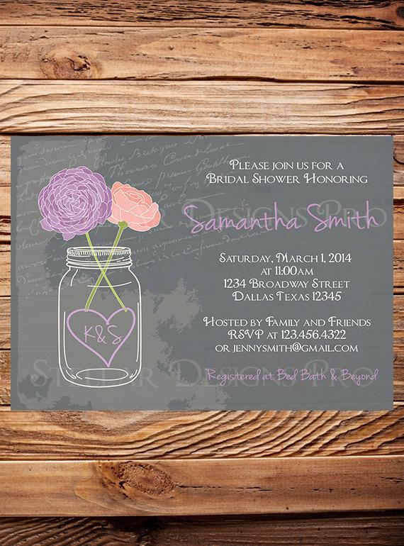 Wedding - Bridal Shower Invitation,Mason Jar Peonies, Garden Flowers Mason Jar,Chalkboard, Mason Jar,Pink, Coral, Purple,Mason Jar Wedding - Item 1045