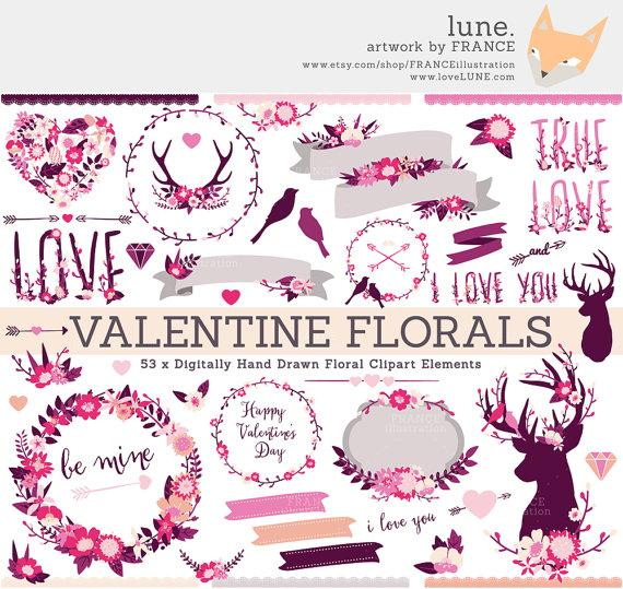 Mariage - Valentine Clipart, Wedding Wildflower Clipart. Antlers, Arrows, Deer, Wreaths, Banners + Bouquets. Hand Drawn Floral Digital Illustration.