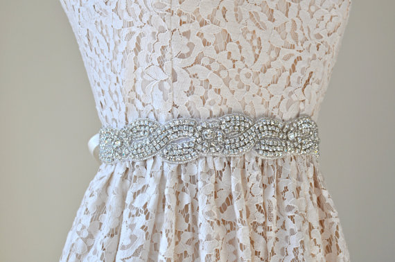 Hochzeit - Ready to ship - 1 3/8'' Wedding Sash/Belt,Bridal Sash,Rhinestone Sash,Beaded Sash, Satin Wedding Sash