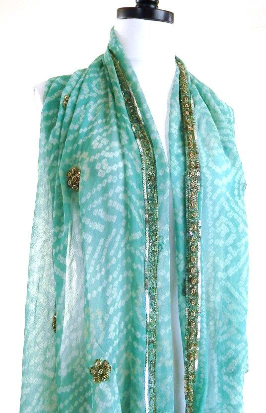 Mariage - Aqua Silk Scarf, Tie Dye Scarf, Blue Bandana, Indian Silk, Vintage Sari Scarves, Indian Wedding Shawl, Hippie Veil, Bollywood