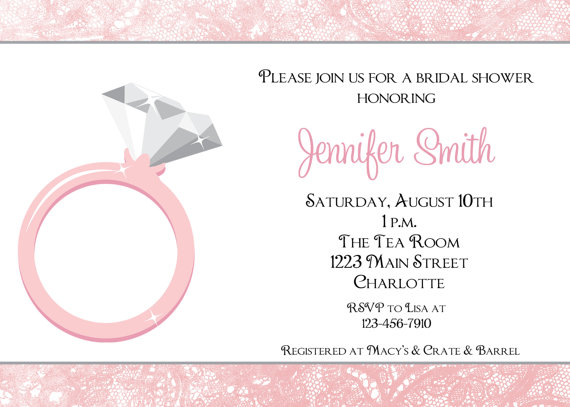 diamond ring invitation bridal shower invitation engagement party invitation pink and silver