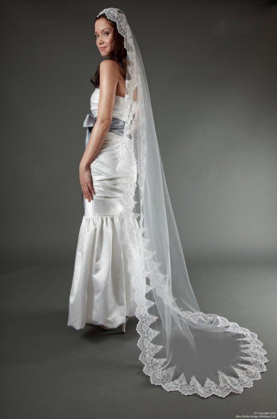 Wedding Veil Handmade Cathedral Spanish Lace Mantilla White Diamond Ivory Champagne Blush Made To Order