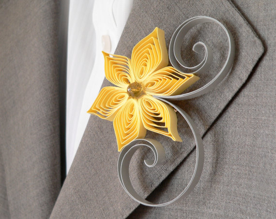 Yellow and grey flower boutonniere groomsmen gift sunbeam and yellow and grey flower boutonniere groomsmen gift sunbeam and light grey wedding modern wedding sunbeam wedding mightylinksfo