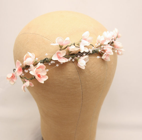Mariage - Wedding Flower Crown of Pink Flowers and Pearl Spray Boho Wedding Floral Halo Wreath Ribbon Tie Bridal headband Woodland Wedding Headpiece