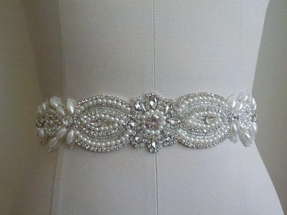 Mariage - SALE - Wedding Belt, Bridal Belt, Sash Belt, Crystal Rhinestone  & Off White Pearls - Style B77117