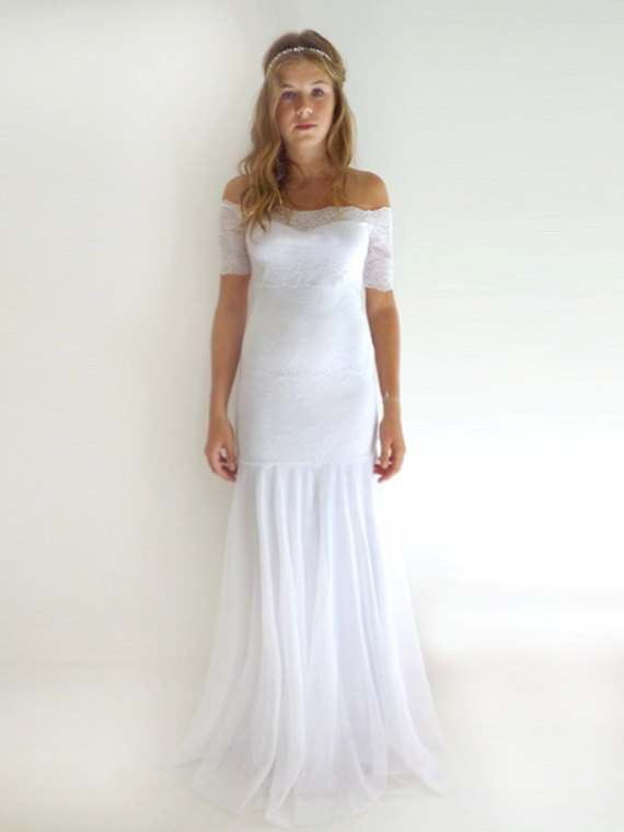 Mariage - Custom Made lace Wedding Dresses Wedding Gowns Lace Wedding Dresses Bridal Gown : MEREILLE Lace Sheath Strapless Mermaid Gown Custom Size