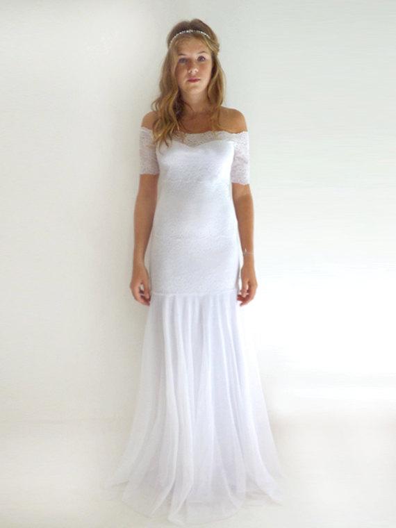 Свадьба - Custom Made lace Wedding Dresses Wedding Gowns Lace Wedding Dresses Bridal Gown : MEREILLE Lace Sheath Strapless Mermaid Gown Custom Size