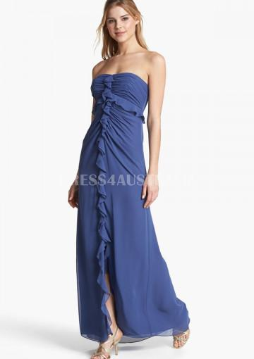 Nozze - Royal Blue Strapless Front Split Floor Length Chiffon Bridesmaid Dresses
