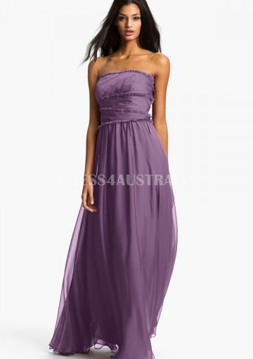 Mariage - Elegant Strapless Ruched Bodice Floor Length Chiffon Bridesmaid Dresses