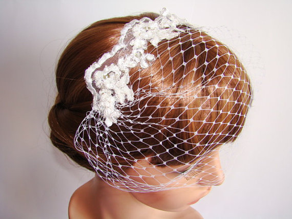Wedding - White Veil - Blusher Veil - Wedding Veil - Birdcage Veil - Head Piece - Ivory Birdcage Headpiece