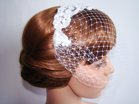 Wedding - Lace Head Piece Blusher Veil - French Netting Wedding Veil - Mini Veil - Wedding Birdcage Veil